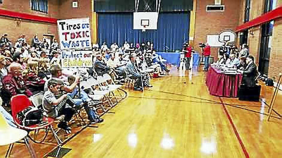 Kate Ramunni — New Haven Register Residents packed the Recreation Center Wednesday night in North Haven.