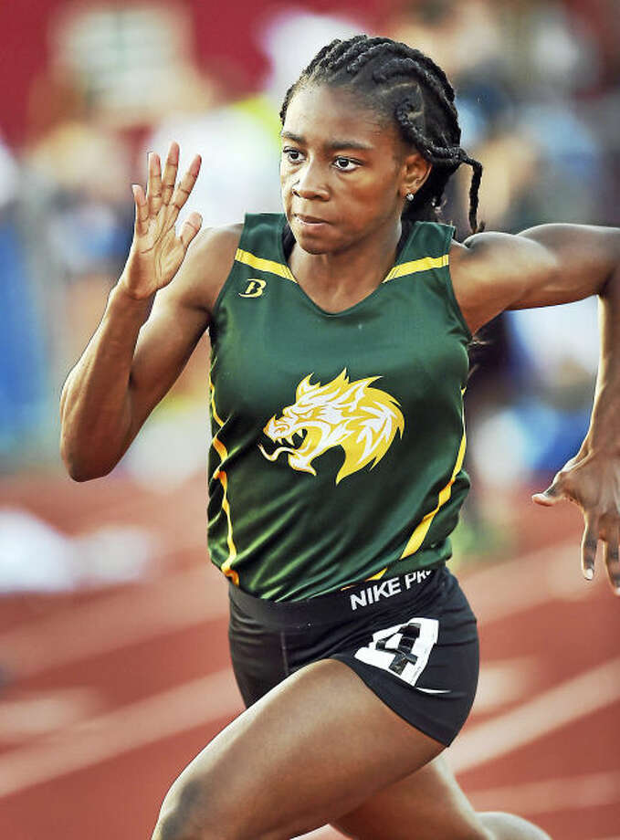 Hamden junior Aisha Gay won the 400 meter dash in 56.00 and the 200 meter dash in 25.14 at the Class LL track & field championships, Wednesday, May 31, 2017, at Manchester High School.