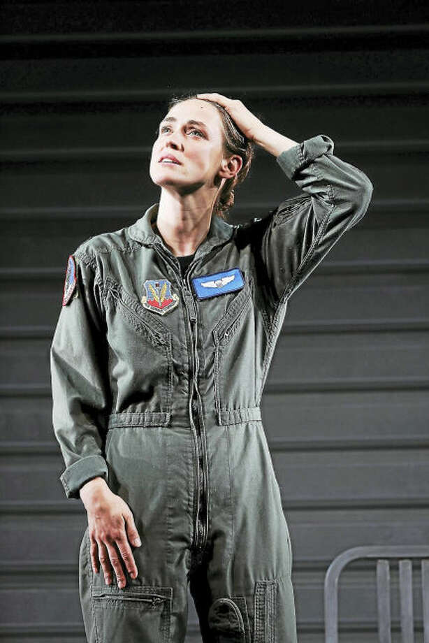 """Photo by Carol Rosegg. Elizabeth Stahlmann as The Pilot in George Brant's """"Grounded,"""" directed by Liz Diamond, at Westport Country Playhouse, now playing through July 29."""