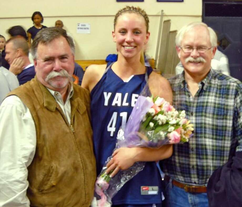Submitted photo Mady Gobrecht, shown with two Hamden Hall faculty members, from left, Tom Iampietro and Tom Butler, helped lead the Yale women's basketball team to its first-ever NIT selection.