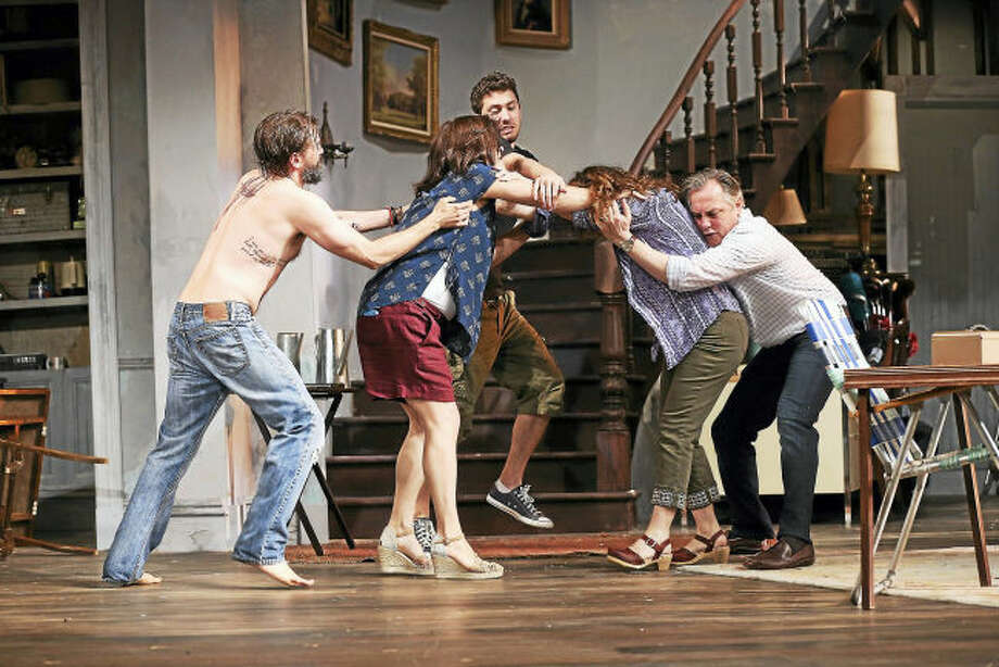 """Photo by Carol Rosegg. From left, Shawn Fagan, Diane Davis, Nick Selting, Betsy Aidem, and David Aaron Baker in Branden Jacobs-Jenkins' """"Appropriate,"""" directed by David Kennedy, at Westport Country Playhouse, now playing through September 2. (203) 227-4177. www.westportplayhouse.org"""
