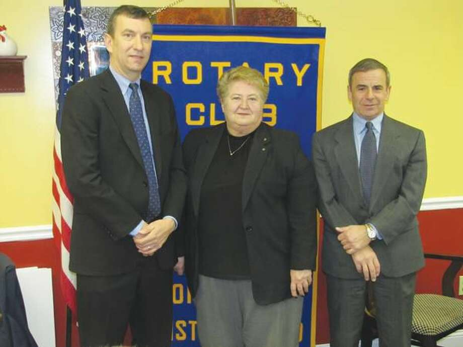 Photo courtesy of David Marchesseault, Rotary Club Secretary Yale-New Haven Hospital spokesman Vincent Petrini was a guest of North Haven Rotary's Mary Jane Mulligan and Town CEO, Michael Freda, at the Breakfast Nook on Tuesday.