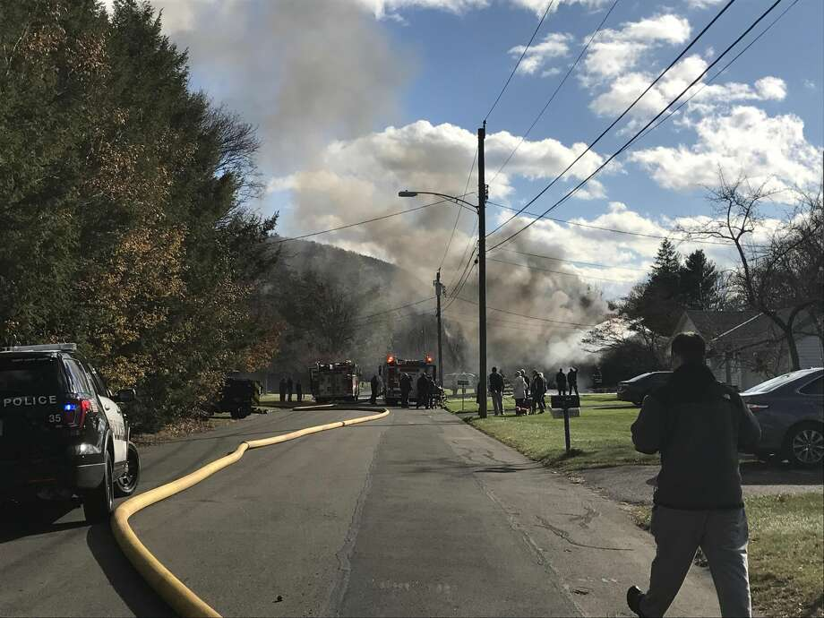 Firefighters responded Monday afternoon to a fully involved structure fire at 219 Garvin Road in Hamden.