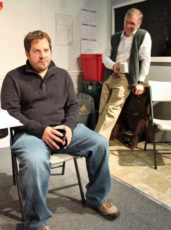 "Jim Buffone (seated) and David Victor in ""Core Values."""