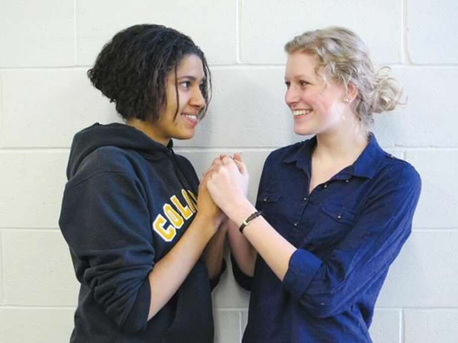 """Submitted Photo Pictured above are Nan Holloman, from New Haven, and Micayla Hutton, from Hamden, in a scene from the play, """"The Lady's Not For Burning,"""" produced by The Turnpike Players."""
