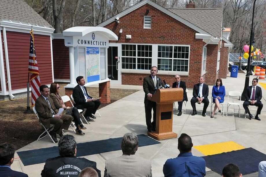 Photo by Peter Casolino/Register North Haven First Selectman Michael J. Freda welcomes the crowd during a ribbon-cutting ceremony at the newly-renovated service plaza on Route 15 southbound Thursday.