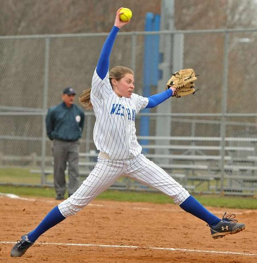Photo by Brad Horrigan/Register West Haven pitcher Camdyn Morgillo threw a complete game shutout against Lyman Hall.