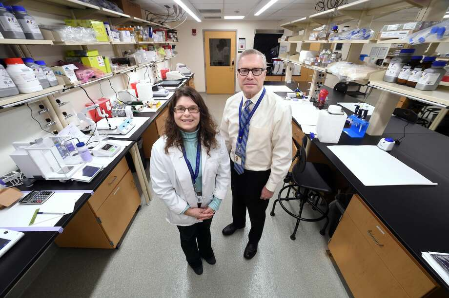 Shari Meyers, director of Laboratory Sciences, and Richard Zeff, chairman of the Department of Medical Services, are photographed in the research laboratory at the Frank H. Netter MD School of Medicine at Quinnipiac University in North Haven.