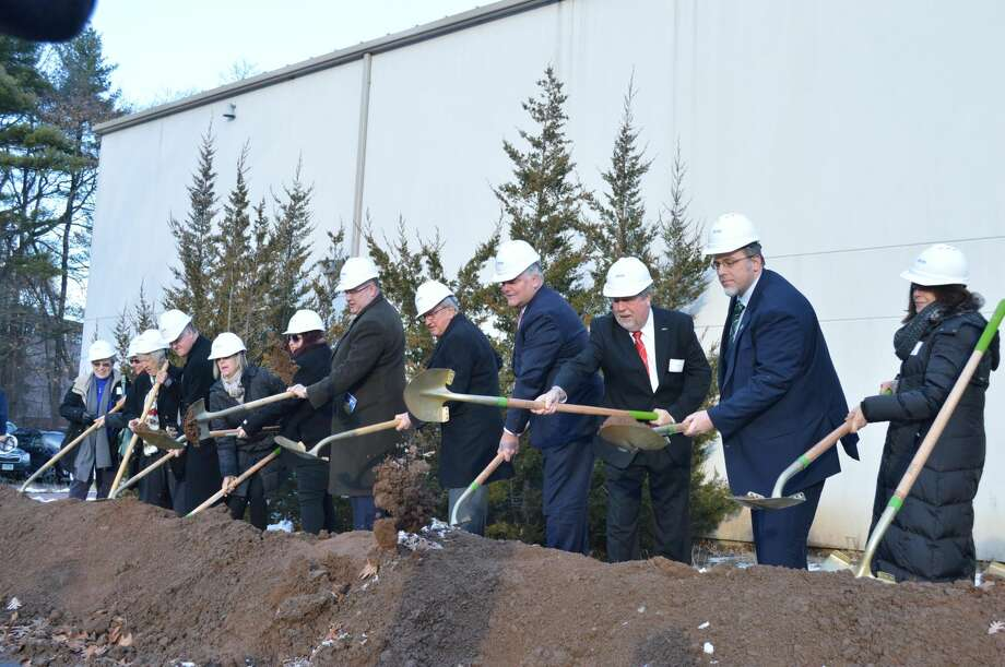 Local officials and ACES board members at the ground breaking ceremony for the ACES campus to be built at 130 Leeder Hill Road in Hamden, including Mayor Curt Leng, Norman Hicks, ACES governing board chairman; Dr. Thomas M. Danehy, executive director of ACES; Anthony Rescigno, president of the Greater New Haven Chamber of Commerce and Glen Peterson, education division director of the Connecticut State Department of Education.