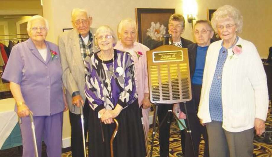 Submitted Photo Volunteers who have given 5,000 hours or more to Masonicare Health Center during the past ten years include Alcine Reed, Jack Goodrich, Harriett Dougan, Evelyn DellaRocco, Barbara Hocking, Janet Mann and Eleanor Lianos.