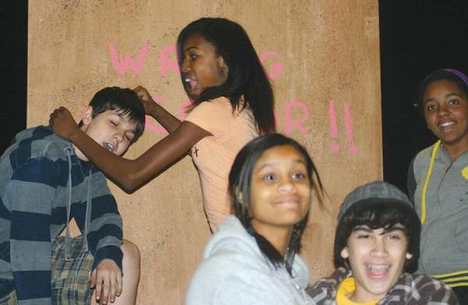 "Submitted Photo Raymond Looney, Jamia Jones, Jade Smart, Joe Benitez, and Deijah Williams perform in ""Just Another High School Musical"" this weekend."