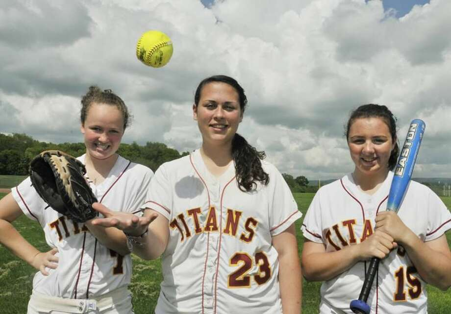 Photo by Melanie Stengel/Register Sheehan softball captains, from left to right, Sarah Murray, Dani Thuerling, and Julia Romano.