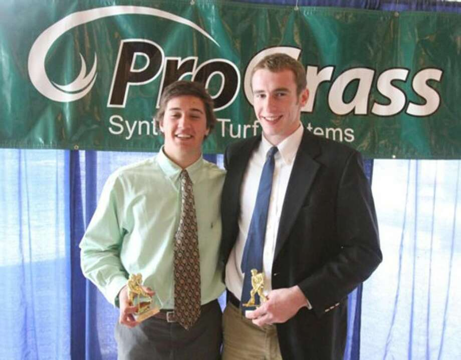 Submitted photo Hamden hockey players R.J. Ugolik, left, and Jim Burt were recently honored by the Connecticut High School Coaches' Association.