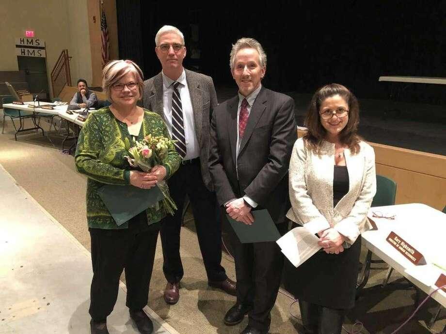 From left, Hamden High School math teacher Jeanne Wilson,Board of Education Chairman Chris Daur, Superintendent of Schools Jody Goeler, and Principal Nadine Gannon.