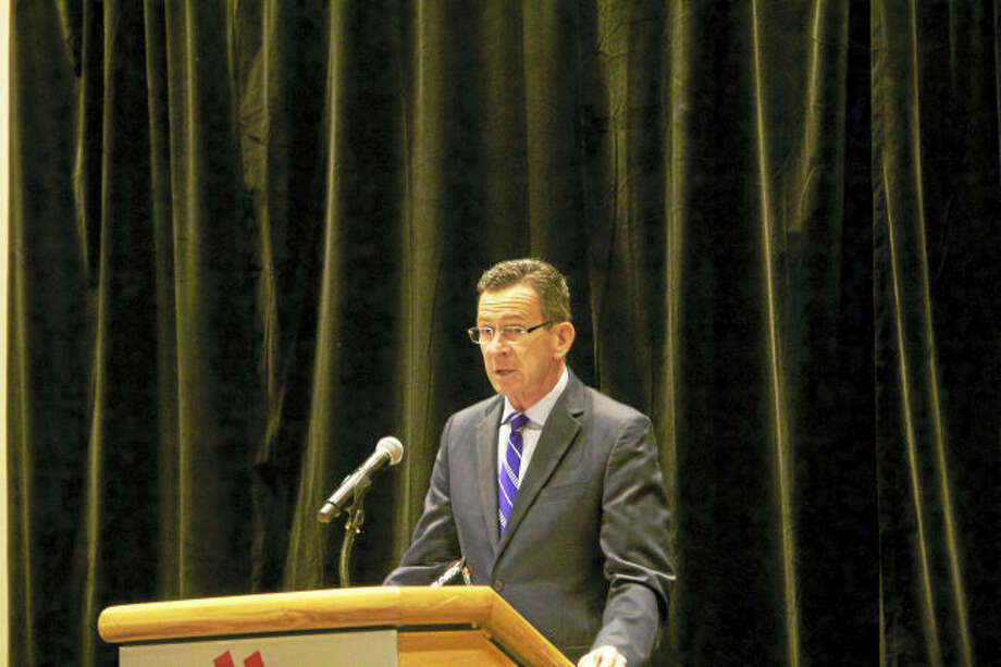 Gov. Dannel Malloy speaks at a press conference Thursday announcing a new public-private partnership aimed at increasing awareness about human trafficking in the state. (Anna Bisaro - New Haven Register)