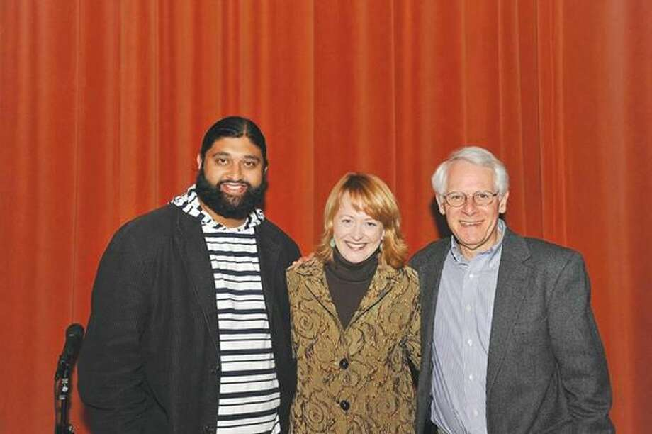 Submitted Photo Azhar Usman, Rev. Susan Sparks , and Rabbi Bob Alper will perform in Laugh in Peace, a Christian Community Action fundraiser, Thursday, May 26, at Hamden Middle School.