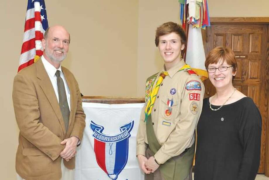 Submitted Photo Eagle Scout Julian Davie with his parents Douglas and Lisa Davie.