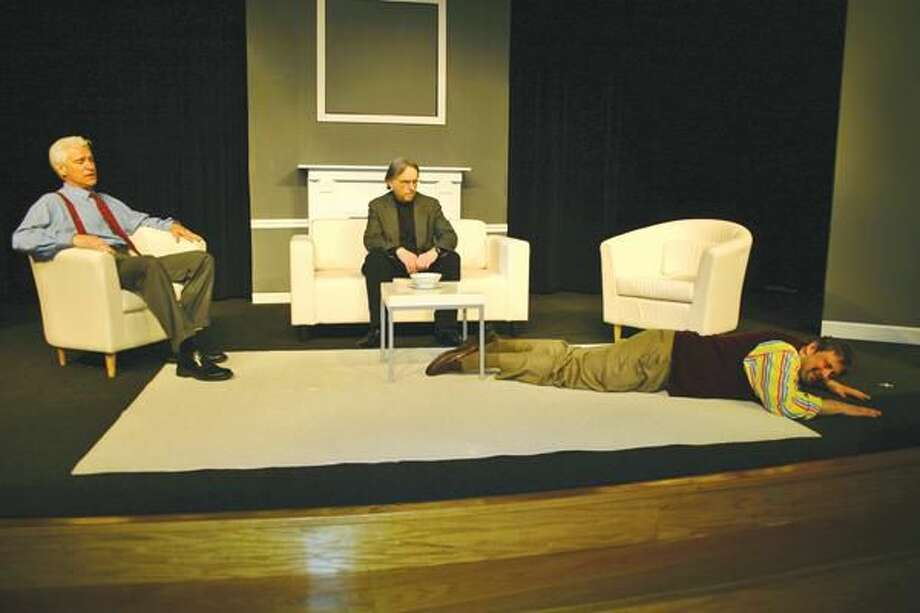 "Submitted Photo Left to right, Pat Leoleft, Alexander Kulcsar and Dan Arenovski perform in ""Art"" at Stratford Theatre."