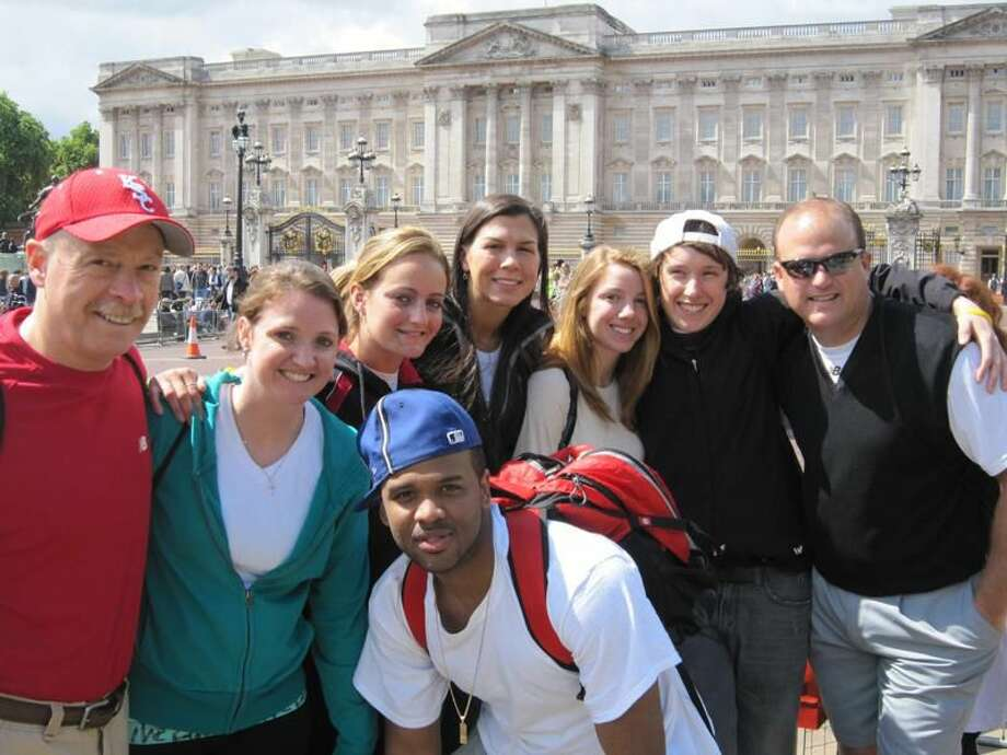Photo courtesy of Keene State College North Haven's Sara Laudano (back row, third from left) recently participated in a trip to Europe with the Keene State College women's and men's basketball teams.