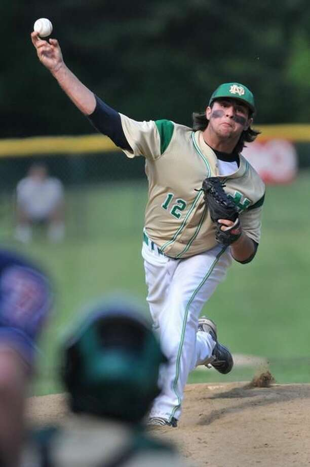 Photo by Brad Horrigan/Register Notre Dame-West Haven's winning pitcher Gary Flowers.