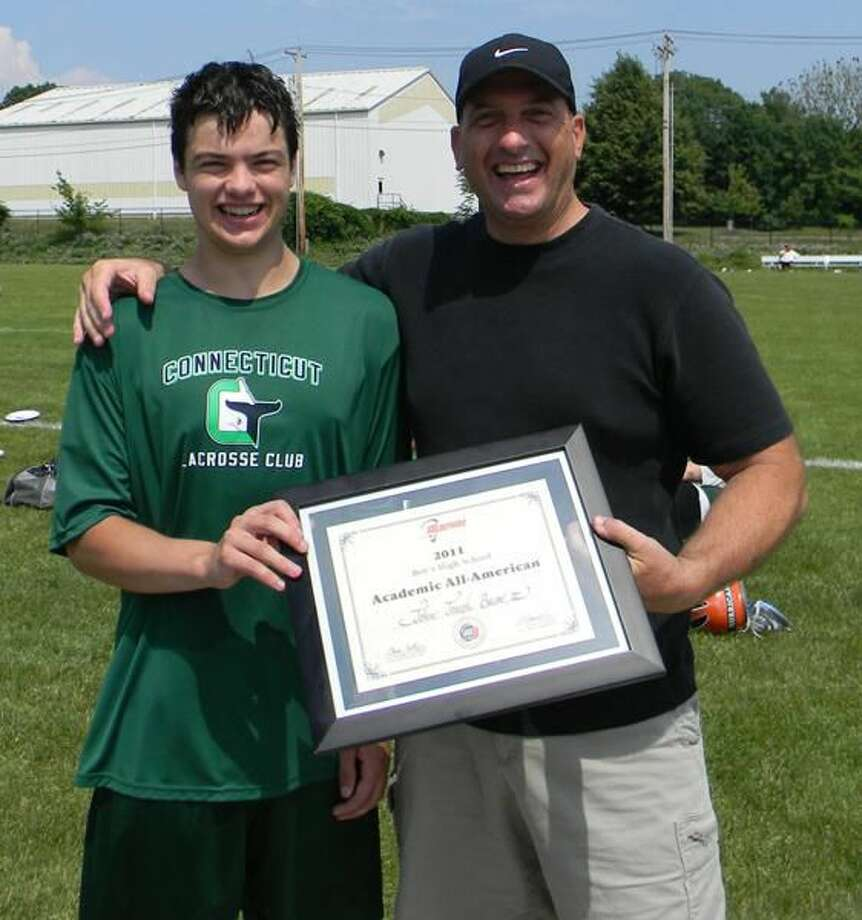 Submitted photo Hamden Hall's John Bacon, shown with lacrosse coach A.J. Raccio, was recently selected as a U.S. Lacrosse 2011 Boys' High School Academic All-American.
