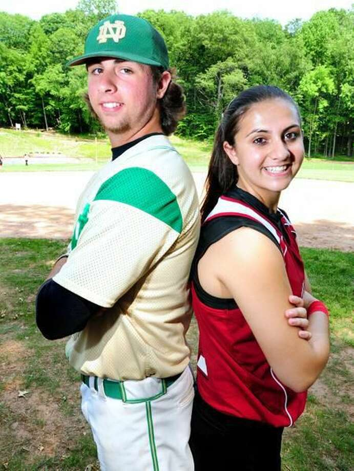 Photo by Arnold Gold/Register Gary Flowers (left) of Notre Dame and his sister, Molly Flowers, of Sacred Heart Academy are both pitching in state championship games Friday night.