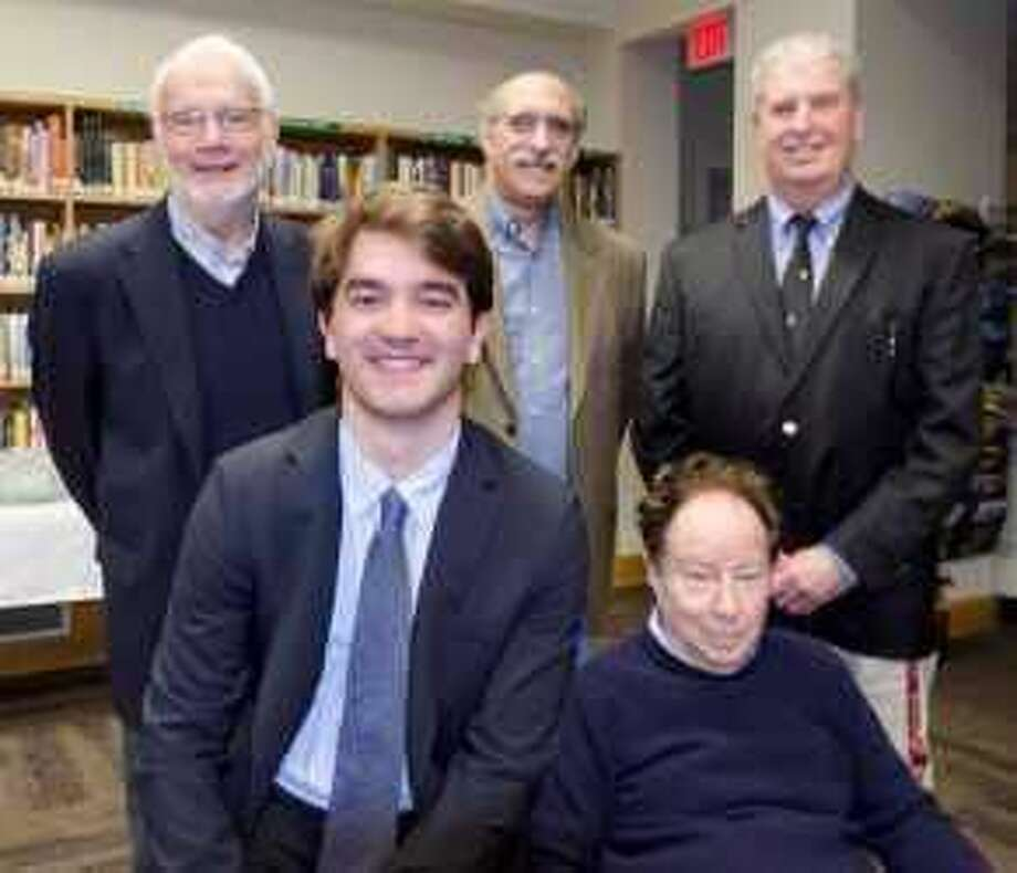 Hamden Hall Country Day School hosted three Nobel laureates for a panel discussion titled American Science in the 21st Century. Pictured, seated from left, is Hamden Hall alumnus Alexandru Buhimschi and Dr. Sidney Altman; standing, from left, are Dr. Thomas A. Steitz, Dr. Martin Chalfie and Hamden Hall science teacher Dr. Frank Gasparro.