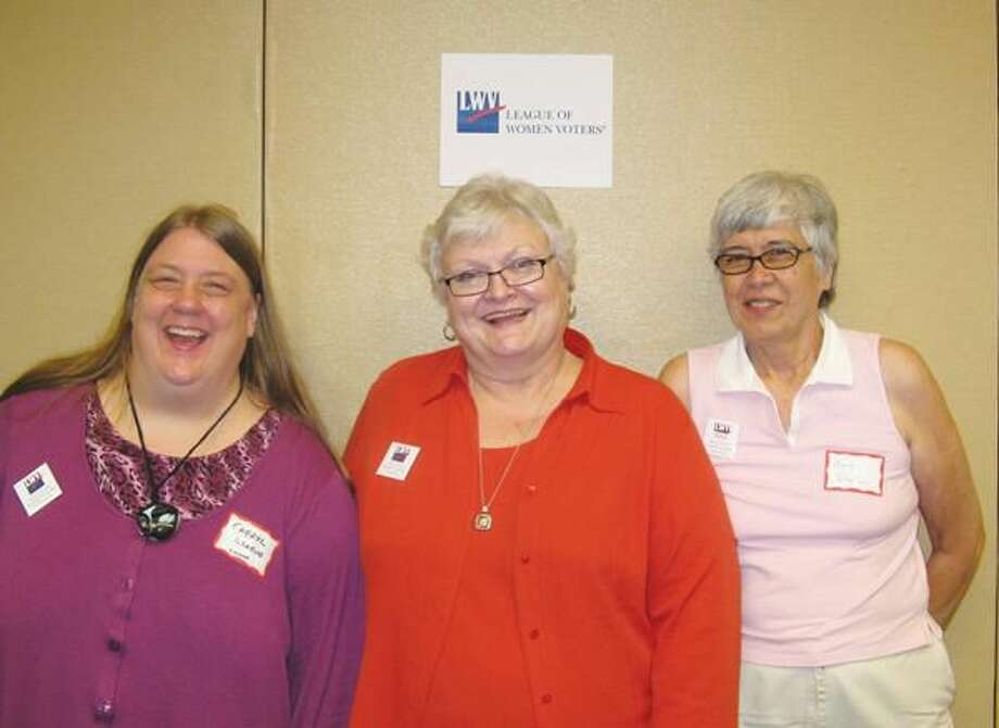 Submitted Photo Pictured left to right are Cheryl Graeve, trainer, League of Women Voters U.S.; Nancy Donoghue, state coach; and Mary Bigelow, co-president, LWV of Hamden-North Haven.