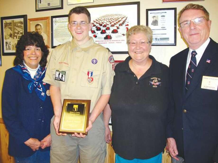 Submitted Photo Local Award (left to right): Hamden Elks President Karen Forsyth, Curran Award Recipient Kevin Gorman, Hamden Lodge Scouting Liaison Kathy Kelsey, and Hamden Lodge Second Vice-President Al Hudson.