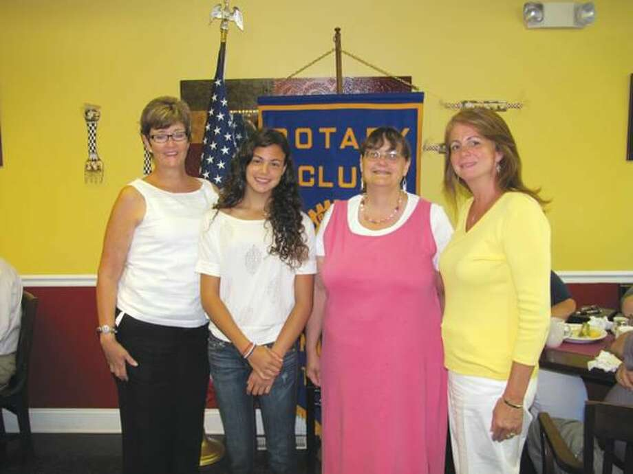 Submitted photo courtesy of David Marchesseault, Rotary Secretary Santina Marinelli (left center), accompanied by her mom, Wendy Marinelli (right), and Youth Services Administrator, Nancy Leddy (left), received $100 for the kick off of Project Graduation from Rotary's Vice President Debbie Volain (right center).
