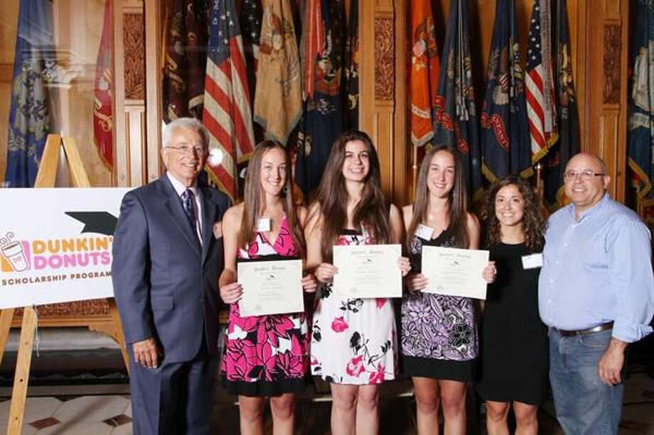 Submitted Photo Newscaster Al Terzi, Wallingford DD Scholarship Recipients Jessica Demaio, Brooke Baldwin and Stephanie Demaio, DD Franchisee Erica Rocha, and DD Franchisee Manny Rocha.