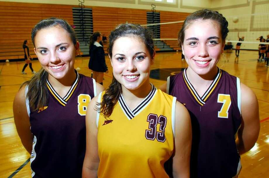 Photo by Arnold Gold/Register Sheehan volleyball captains, from left to right, Casey Gavin, Nicole Boisvert and Gina Mazzucco.
