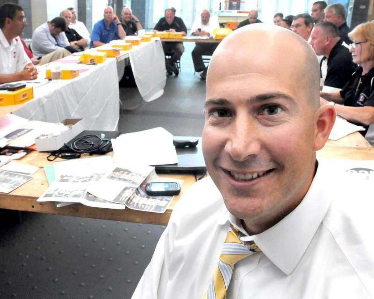 Photo by Peter Hvizdak/Register Al Carbone, SCC Commissioner during an SCC conference meeting at the New Haven Athletic Center.