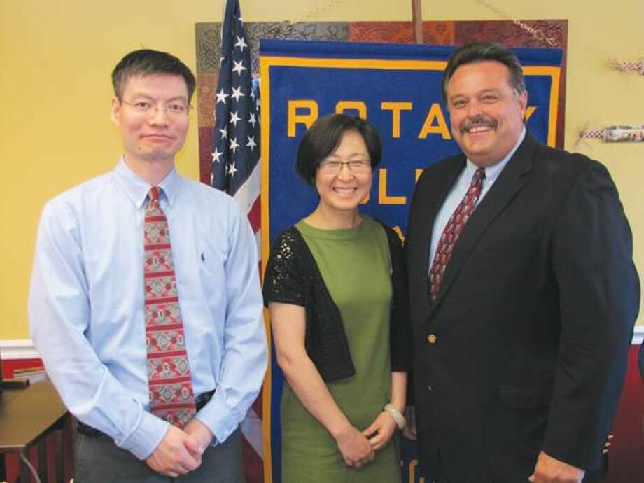 Photos courtesy of David Marchesseault, Rotary PR Chair North Haven Rotary President Guy Casella, right, thanked Dr. Ernan Ni and his associate, Shelly Ren, for the presentation on Chinese culture.