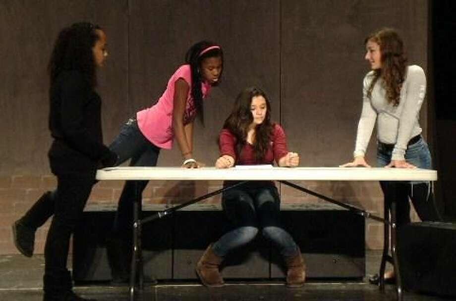 "Submitted Photo Imari Clement, Jamia Jones, Jenna Quiroz, and Oliva Dowgiewicz perform in ""Odd Duck."""
