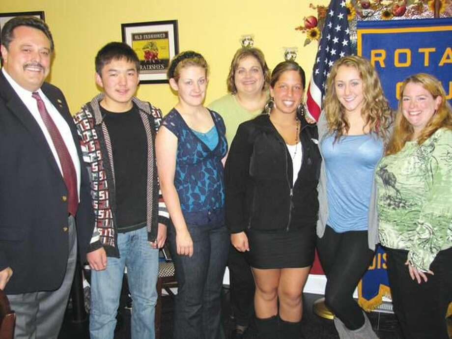 Submitted Photo Pictured left to right, Rotary President Guy Casella, Rotary Exchange Student Chyngyz Israilor, Interact Co-President Alex Johnson, State Employee Mary Ann Townley, Secretary Monica Keyes, Co-President Felisha LaPoint, and Faculty Advisor Ellie Mulligan.