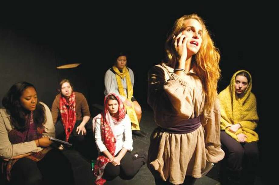 "Submitted Photo Quinnipiac University Theater for Community students from left to right: Jillian Ebanks, Jessica Otterbine, Alyssa Dunn, Catherine Liu, Joslyn Stabile and Jessica Lehman rehearse a scene from ""Seven,"" which will be performed Nov. 10-13 at Long Wharf Theatre, Stage II."