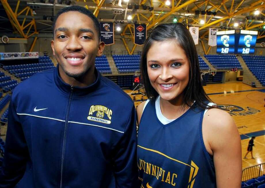 Photo by Arnold Gold/Register Quinnipiac basketball players James Johnson and Keri Goodchild and their respective teams will play the underdog role this year and look to surprise some teams in the Northeast Conference.