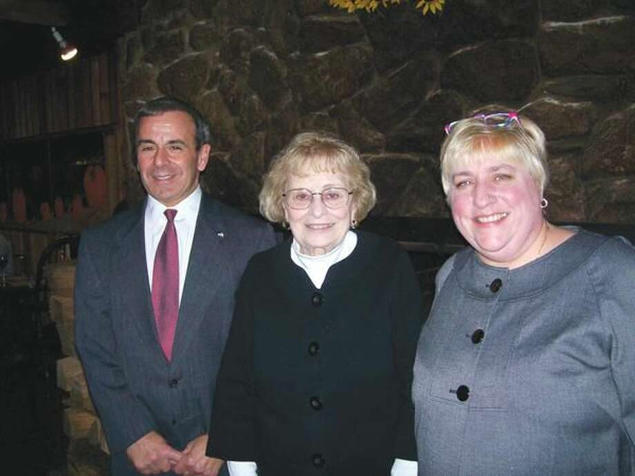 Photo by Lynn Fredricksen First Selectman Mike Freda visited with Marie Berniere and her daughter, Lisa Palmucci, at a fundraiser held at the Rustic Oak recently to benefit the Walter T. Berniere Scholarship Fund.