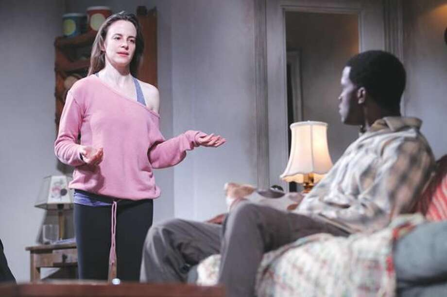 """Submitted Photo by Joan Marcus Maria Dizzia as Abby and Gilbert Owuor as Alioune in the world premiere of """"Belleville"""" by Amy Herzog, directed by Anne Kauffman."""