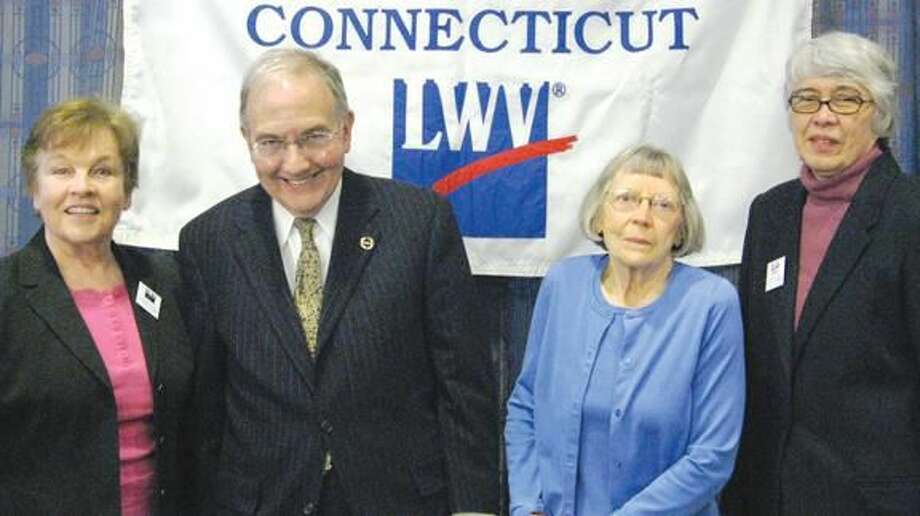 Submitted Photo Senator Martin Looney, second from left, is pictured with (left to right) Elona Vaisnys, LWVCT Board; and Miriam Brody and Mary Bigelow, co-presidents of Hamden-North Haven LWV.