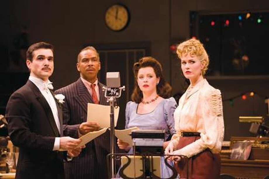"""Submitted Photo by T. Charles Erickson Dan Domingues, Kevyn Morrow, Ariel Woodiwiss, and Kate MacCluggage perform in """"It's A Wonderful Life: A Live Radio Play"""" at the Long Wharf Theatre in New Haven through Saturday, Dec. 31."""