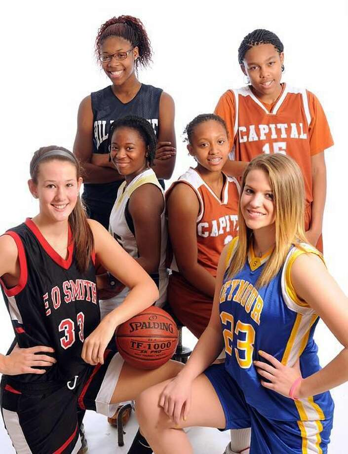 "New Haven— Girls basketball preview standouts. From front left, clockwise; Morgan Olander (E.O. Smith), Trayneice Mims (Hyde), Bria Holmes (Hillhouse), Kiah Gillespie (Capitol Prep), ""Snoop"" James (Capitol Prep) and Christina Cretella (Seymour) . Peter Casolino/New Haven Register"