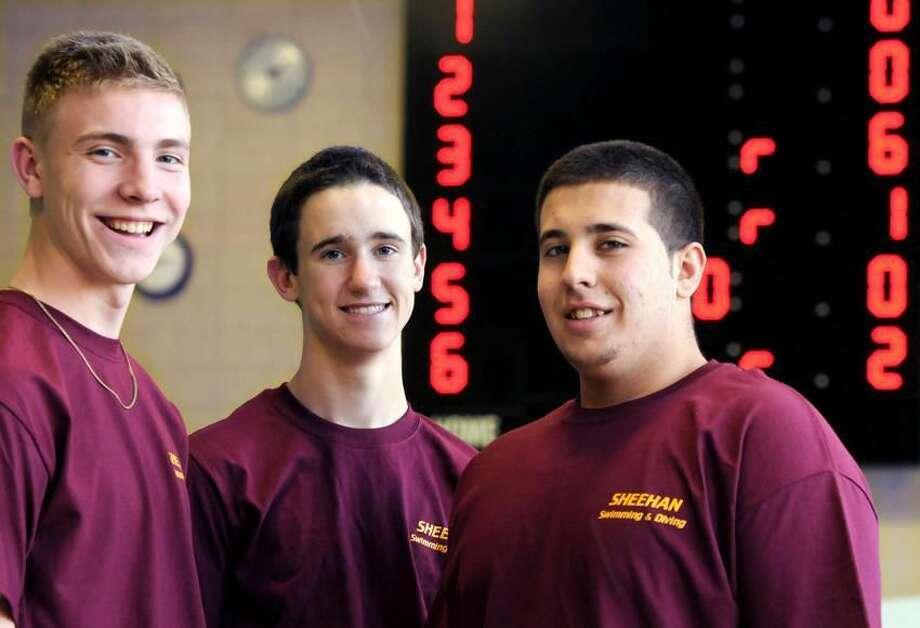 Sheehan High School swim captains left to right: Josh Bjornberg, Derrick Blinn, and Andy Mazzone. Photo by Mara Lavitt/New Haven Register