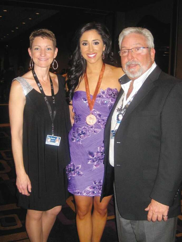 Submitted Photo Morgan Amarone is pictured with With Tom Prete and Kathy Mormino of the Miss Connecticut Board of Directors after receiving the Duke of Edinburgh Award.