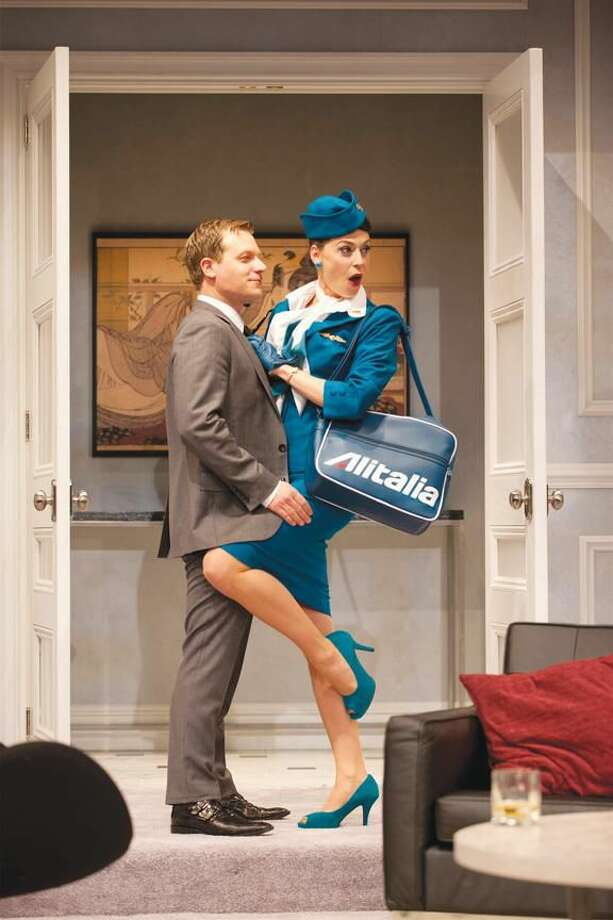 """Photo by T. Charles Erickson Vince Nappo and Kathleen McElfresh perform in """"Boeing-Boeing"""" at Hartford Stage."""