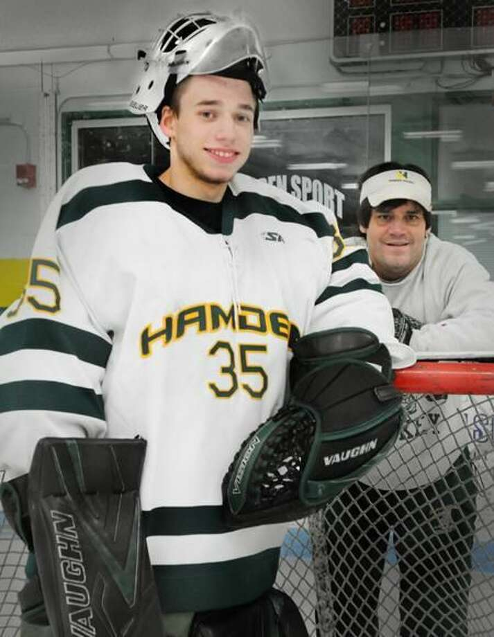 Hamden goalie Andy Varga and his uncle, head coach Bill Verneris. (Melanie Stengel/Register)