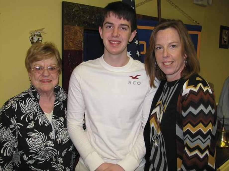 Photo courtesy of David Marchesseault, Rotary PR Chairman January Student of the Month, Myles Mocarski, was joined by his mother Kristen Mocarski, and his grandmother, Ruth Reardon.