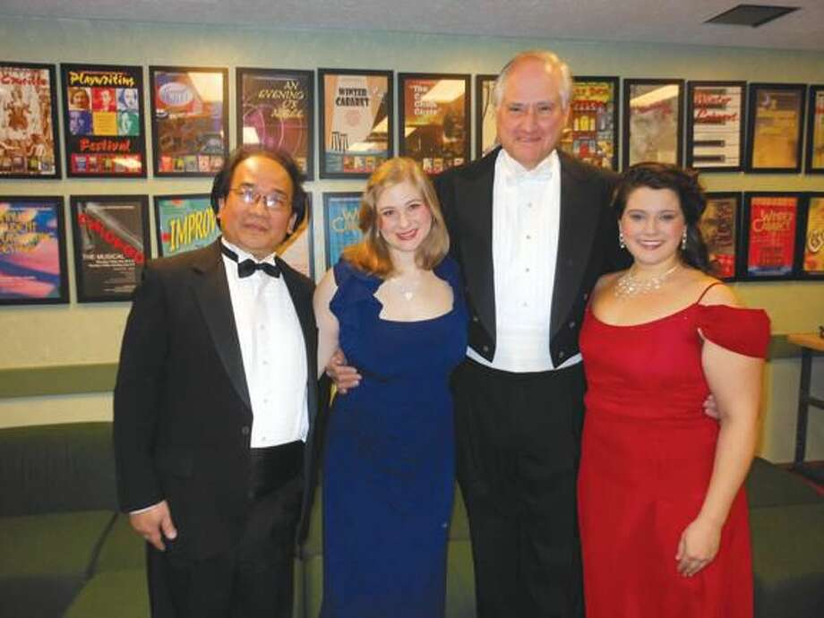 Submitted Photo Shown here following the concert, left to right, are Baritone Chai-lun Yueh, Soprano Lilla Heinrich-Szasz, WSO Music Director Philip T. Ventre; and Soprano Kerry Holahan.