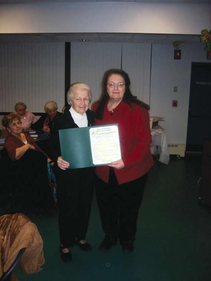 Submitted Photo orence Krukowsi received Town Proclamation from Vera Morrison.
